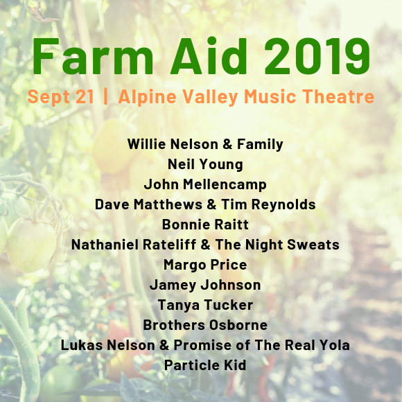Farm Aid Festival Willie Nelson Neil Young John Mellencamp Dave Matthews Alpine Valley Music Theatre